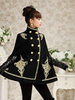 Dabuwawa Women Elegant Big Flare Sleeve Stand Collar Golden Broderie Black Wool Poncho Cape Coat