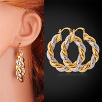 Wholesale Gold Hoop Earrings K Gold Platinum Plated Two Tone Earrings Basketball Wives Hoop Earrings For Women Girls