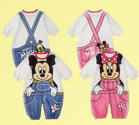 Wholesale Babies Clothes Baby Romper Boys Girls Rompers Long Sleeve Newborn Romper Cartoon Mouse Infant Jumpsuit Climbing Clothing Pink Blue I2637