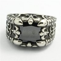 Band Rings Celtic Men's 2014 100% Personal Design!Mens 316L Stainless Steel Top Quality Black Stone Fleur De Lis Ring Cool Band Party Ruby Mens Ring