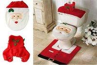Wholesale Beauty Christmas Gift Happy Santa Toilet Seat Cover Rug Bathroom Set Christmas Decorations