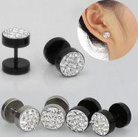 Wholesale Hot Sales Unisex Men s Ear Studs Earrings Stainless Steel Crystal Barbell Punk Fashion Black Silver IX18