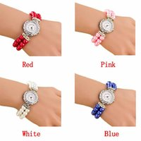 beautiful monitor - Attractive Women Students Beautiful Fashion Brand New Golden Pearl Quartz Bracelet Watch