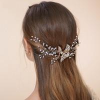 Cheap Stunning Gold Rhinestone Wedding Hair Jewelry Comb Bridal Vintage Headpiece Accessories Handmade