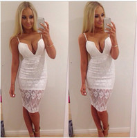 Cheap Celebrity Sexy Lace one Piece Bandage Dress White Casual Party Prom Evening Party Club dresses Women Outfits Dresses
