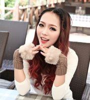 Wholesale Women Winter Knitted Fingerless Wrist Hand Warmer Faux Rabbit Fur Gloves Mittens