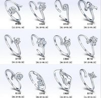 sterling silver rings - 2016 New Zodiac Sterling Silver Rings Jewelry Women Girl Opening Retro Ring Europe America Couples Rhinestone Ring Jewelry