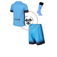 Wholesale 2015 Third Away Blue Jerseys Hot Soccer Uniforms Messi Full Sets Football Shirts Shorts Socks Good Quality Camisetas De Futbol