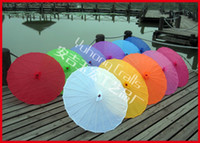 Parasols asian silks - 6pcs Bamboo Frame Wooden Handle Chinese parasol Asian folk art Umbrella Pure Color Artificial Silk Umbrella Surface no Logo