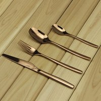 flatware - 4pcs set Aoosy Rose Gold Stainless Steel Dinnerware Set Flatware Tableware Fork Steak Knife Spoon Dinnerware Cutlery