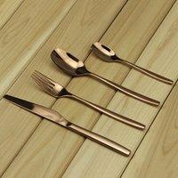 Wholesale 4pcs set Rose Gold Stainless Steel Dinnerware Set Flatware Tableware Fork Steak Knife Spoon Dinnerware Cutlery