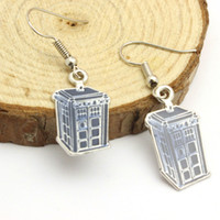 best earring material - alloy material Doctor Who antique gold earrings telephone booth Earrings Mysterious Infiniti Charm For Men And Women best Gifts