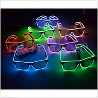 Wholesale 60pcs CCA3008 Simple EI Glasses El Wire Fashion Neon LED Light Up Shutter Shaped Glow Sun Glasses Rave Costume Party DJ Bright SunGlasses