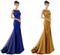 Crew designer plus size - 2016 Modest Designer Mermaid Beaded Celebrity Evening Dresses Crystals Sexy Royal Blue Gold Green Evening Dress Sheer Back Formal Prom Dress