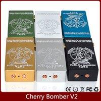 Cherry Bomber Box Mod Mise à niveau Version Gravure <b>Cherry Bomber V2</b> Mod Adaptation 18650 Batterie 510 Thread RDA Atomizer Mods mécaniques
