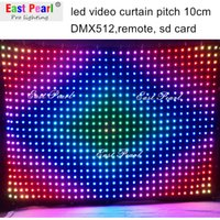 Wholesale A2410 H6 ft x W13 ft led video vision curtain pitch mm DMX remote SD CARD mobile entertainers dj shows nightclubs stage backdrops