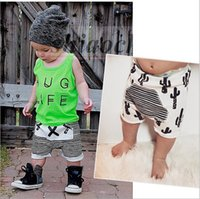 Wholesale Kids Summer Ins harlan baggy pants fashion cotton Harem pants Cactus striped shorts elastic casual PP pants cropped Harem Trousers A39