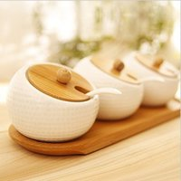 Wholesale 3pcs Salt and spice Storage Pot Jars Tea Sauces Coffee Jam Storage Pot with Lid and Spoon ceramic bamboo home decor