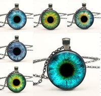 american eyeglasses - 1 PC Glass Photo Jewelry Dragon Eye Necklace Cat Eye pendant Necklace Blue EyeGlass Dome Necklace jewelry
