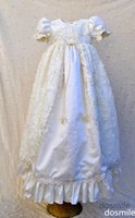 Wholesale Sparkly Lace Pearls Baby Girl White Ivory First Communion Dresses Christening Gown Baptism Dress