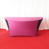 Wholesale 180cm diameter semicircle black and purple combined spandex table cloth table cover