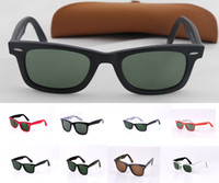 Wholesale Matte black Men s Women s Glasses Sunglasses green Lens with Box Case mm sunglass