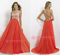 Wholesale 2015 Cheap In Stock One Shoulder Chiffon Evening Dresses A Line Crystal Empire Backless Formal Evening Gowns Prom Party Dress CPS092