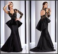 Wholesale Evening Prom Dresses Wear Black Satin Formal Celebrity Dress Appliques Lace Long Sleeves Peplum Party Gowns KR