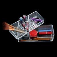 cosmetic storage box - Double Layer Cosmetic Perfume Lipstick Holder Jewelry Storage Box Clear Makeup Case Desktop Cosmetics Storage Box W1528