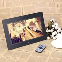 achat en gros de sd bureau images-Hot Sale 10inch HD TFT-LCD 1024 * 600 Digital Picture Photo Alarm Clock Frame MP3 MP4 Movie Player avec Remote Desktop Blanc / Noir