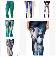 Wholesale 93 Styles Women s Leggings Pants elastic Star Print Sexy Galaxy Leggings Slim Stretch Black Skull Graffiti Leggings Pants Springs R1392