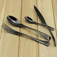 De alto grado de acero de titanio de Aoosy negro 4pcs / set cubiertos 18/2 de acero inoxidable espejo de pulido juego de vajilla incluyen cuchara cuchara tenedor
