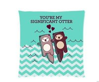 Wholesale Sea otters holding hands Pillowcase x18 inch Zippered Pillow Cover