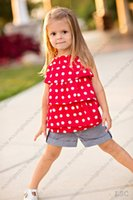 retail clothing - Retail new brand Kid Girl Clothes Set cute sundress chiffon Dot t shirt jeans Shorts children clothing suit HX cheap