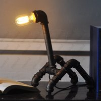 table lamp - Vintage water pipe table lamp Retro Luxury industrial Iron Hardware Desk Lamp HSA1553
