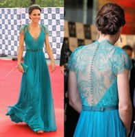 Cheap Ellie saab evening dresses 2015 Blue Teal Chiffon and Romantic Lace V-neck Cap Sleeves Ruched Bodice Sash Floor Length Gowns