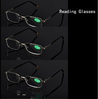 Wholesale R555 Silver Metal Frame men women Glasses reading glasses with Case clear cloth