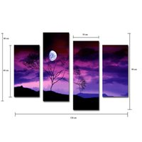 oil painting gallery - Stretched panels Gallery painting Sunset Painting purple picture Modern Landscape Group Oil Paintings on Canvas Wall Art