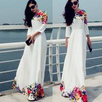 long summer dresses - 2015 New Hot Sexy Women Summer Boho Maxi Dress Print floral Evening Party long Dress Beach Chiffon Dresses S XL