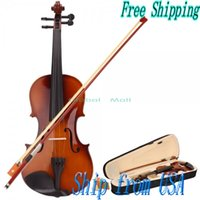 Wholesale US Stock Ship From USA New Full Size High Quality Natural Acoustic Violin Case Bow Rosin for Violin Beginner Y00326