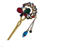 Wholesale New arrive Fashion Rhinestone Resin Butterfly Hairpin Multi colors Red Sky BlueAnitqued Gold Hair Stick for sale