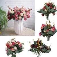 Wholesale Vintage Silk Artificial Rose Decor Flower Bouquet Handmade Wedding Party Decorative Crafts Colors To Choose
