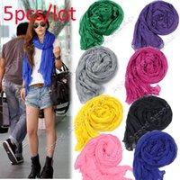 Wholesale 5pcs Fashion Women s Long Crinkle Wrap Scarf Soft Shawl Stole Pure Color Colors Hot sales