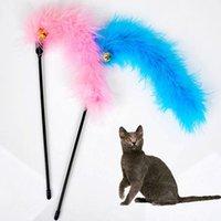 Wholesale 10pcs Colorful Feather Design Tease Cat Stick Cat Catcher Teaser Toy Color Assorted