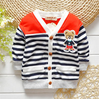 Wholesale Autumn Winter Baby Reborn Striped Bear Knitted Baby Cardigan Sweater Baby Girl Children Outerwear Baby Boy Sweaters