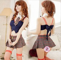 sexy school uniform - 1 Set Sexy School Girls Uniforms Cosplay Lingerie Costumes
