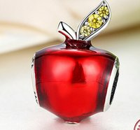 apple pandora - Fits Pandora Bracelets mm red apple silver charms Silver Beads Cubic Zirconia Sterling Silver Charms for DIY Jewelry