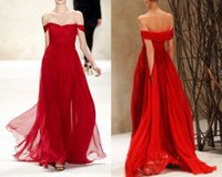 flowing prom gowns - Popular Red Prom Dresses Off The Shoulder A Line Flowing Chiffon Winter Formal Gowns Evening Dresses