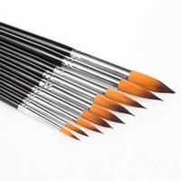 Wholesale 9 Paint Brushes Different Shape Nylon Hair Paint Brush Gouache Watercolor Brush Oil Painting Acrylics Brush Art Supplies