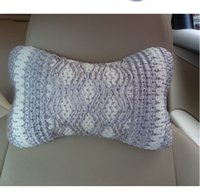 Wholesale Beige Grey Soft Home Car Auto Headrest Waved Ripple Linen Ice Silk Cushion Pillow Neck Rest High quality IC677885